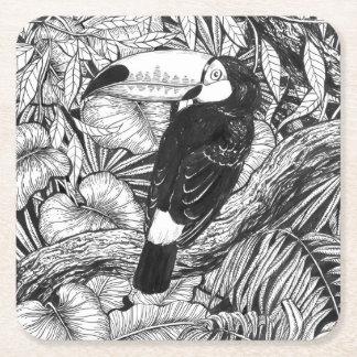 Toucan tropical garden square paper coaster