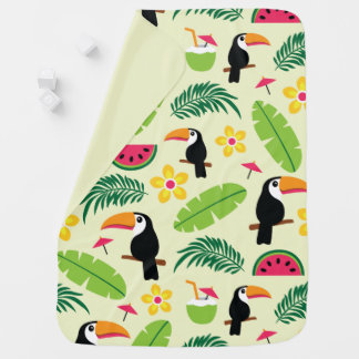 Toucan Tropical Summer Pattern Baby Blanket