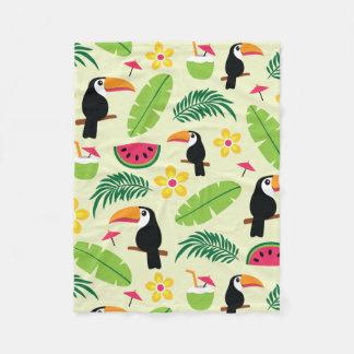 Toucan Tropical Summer Pattern Fleece Blanket