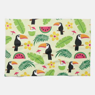 Toucan Tropical Summer Pattern Kitchen Towel