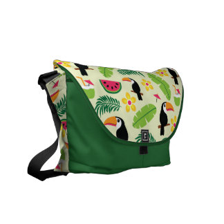 Toucan Tropical Summer Pattern Messenger Bag