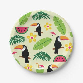 Toucan Tropical Summer Pattern Paper Plate