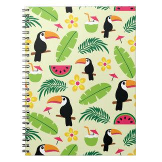 Toucan Tropical Summer Pattern Spiral Notebook