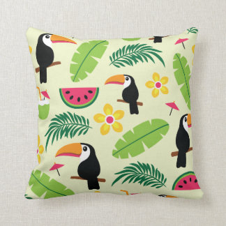 Toucan Tropical Summer Pattern Throw Pillow
