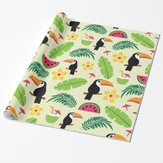 Toucan Tropical Summer Pattern Wrapping Paper