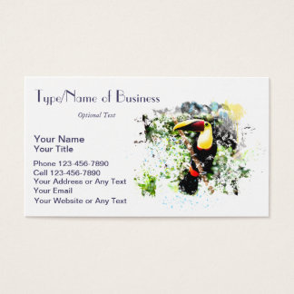 Toucan Watercolor Art Rainforest Tropical Fun Bird Business Card