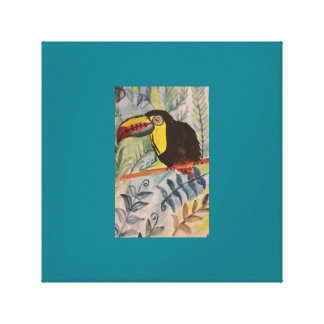 Toucan with tropical theme canvas print