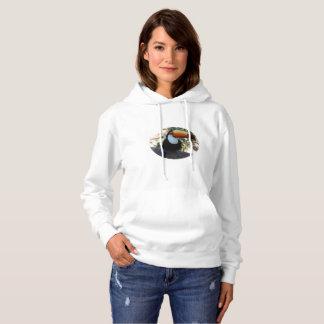 Toucan Women's Basic Hooded Sweatshirt, White Hoodie