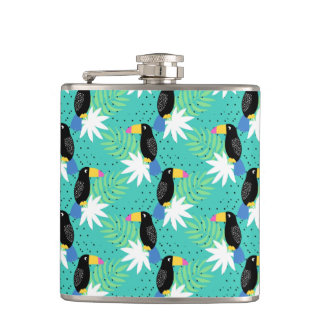 Toucans On Teal Flask