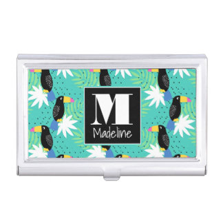 Toucans On Teal | Monogram Business Card Holder