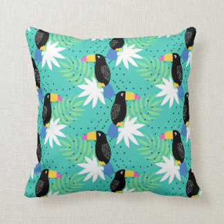 Toucans On Teal Throw Pillow