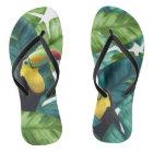 Toucans Tropical Banana Leaves Pattern Flip Flops