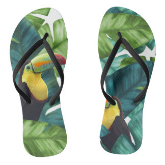 Toucans Tropical Banana Leaves Pattern Flip Flops