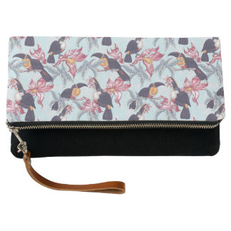 Toucans With Exotic Flowers Clutch