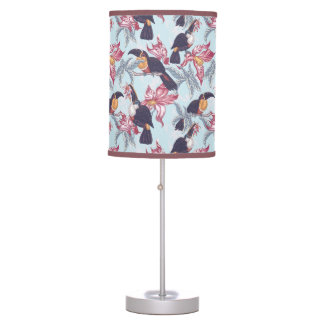 Toucans With Exotic Flowers Desk Lamps