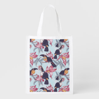 Toucans With Exotic Flowers Grocery Bags