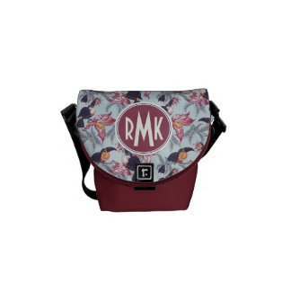Toucans With Exotic Flowers | Monogram Commuter Bags