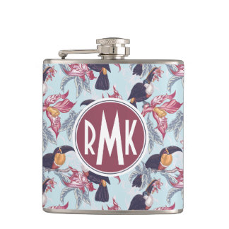 Toucans With Exotic Flowers | Monogram Flasks