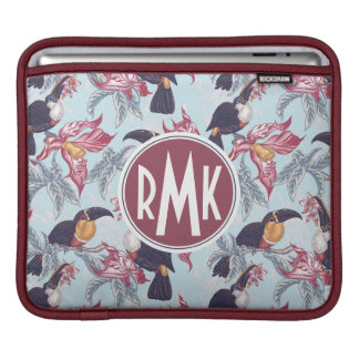 Toucans With Exotic Flowers | Monogram iPad Sleeves
