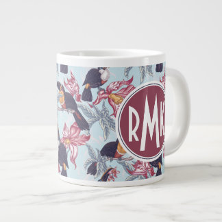 Toucans With Exotic Flowers | Monogram Large Coffee Mug