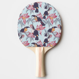 Toucans With Exotic Flowers Ping-Pong Paddle