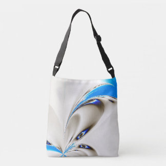 Touch of Blue Floral Fractal Crossbody Bag