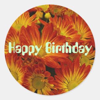 Touch of Fall, Happy Birthday, orange mums Classic Round Sticker