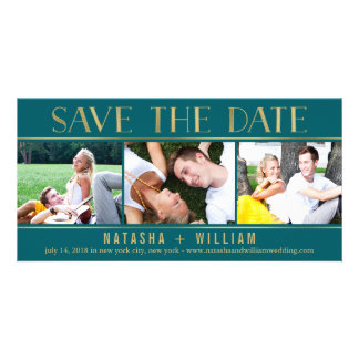 Touch of Gold EDITABLE COLOR Collage Save The Date Photo Card