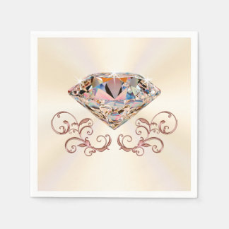 Touch of Rose Gold Diamond Napkins in 3 Sizes Paper Napkins