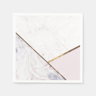 Touch of Rose White & Grey Marble Swirl Chic Party Disposable Napkin