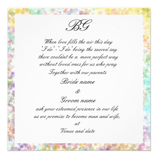 Touch of spring wedding invitation