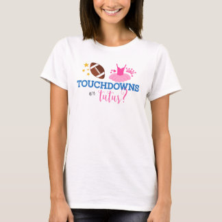 Touchdowns or Tutus Blue Pink Gender Reveal T-Shirt