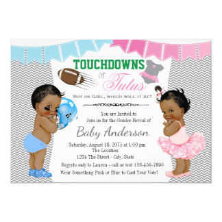 Touchdowns or Tutus Gender Reveal Invitations