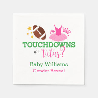 Touchdowns or Tutus Gender Reveal Party Napkin