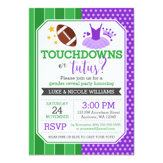 Touchdowns or Tutus Purple Gender Reveal Party Card