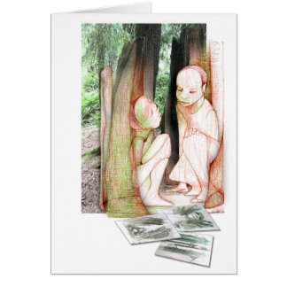 TouchDrawing in the old growth forest Card