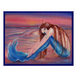 Touched by the Sun mermaid poster By Renee Lavoie