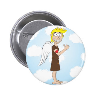 Tough Angel with heart tattoo 2 Inch Round Button