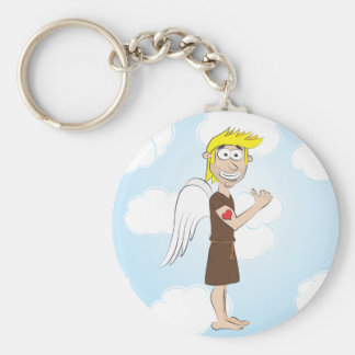 Tough Angel with heart tattoo keychain