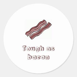 Tough as bacon round sticker