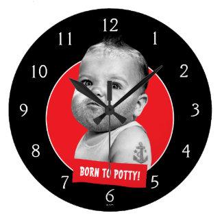 Tough Beared Baby Boy Large Clock