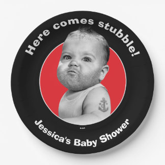 Tough Beared Baby Boy Paper Plate