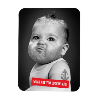 Tough Beared Baby Boy Rectangular Photo Magnet