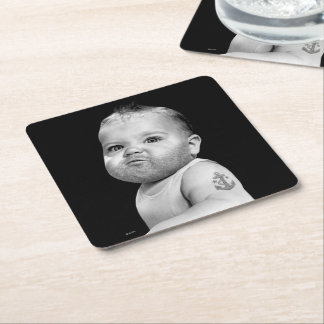 Tough Beared Baby Boy Square Paper Coaster