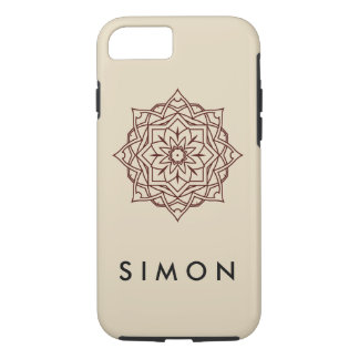 Tough Brown Damask pattern on shiny iPhone case