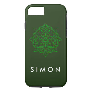 Tough Emerald Damask pattern on green iPhone case