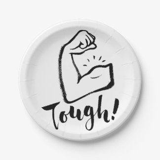 Tough - Hand Lettering Typography Design 7 Inch Paper Plate