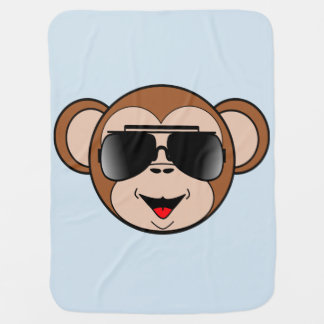 Tough litte monkey with sunglasses baby blanket