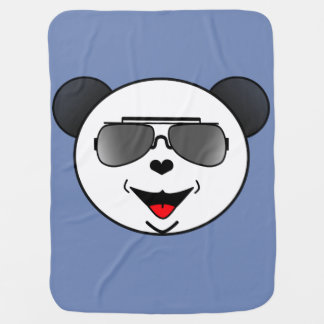 Tough panda with sunglasses baby blanket