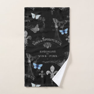 Toujours Paris Butterflies Collage Black Hnd Towel